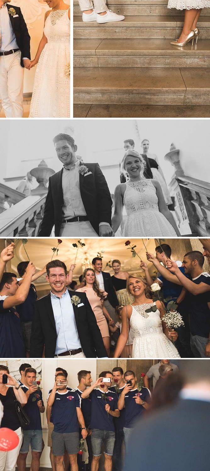 Hochzeit, Standesamt, Schwäbisch Hall, Hochzeit in Schwäbisch Hall, Heirat, Reportage, Hochzeitsfotograf, Vintage, Braut, Brautkleid, Kulisse, Rathaus, Spalier, Freude, Hollenbach, Unplugged Wedding