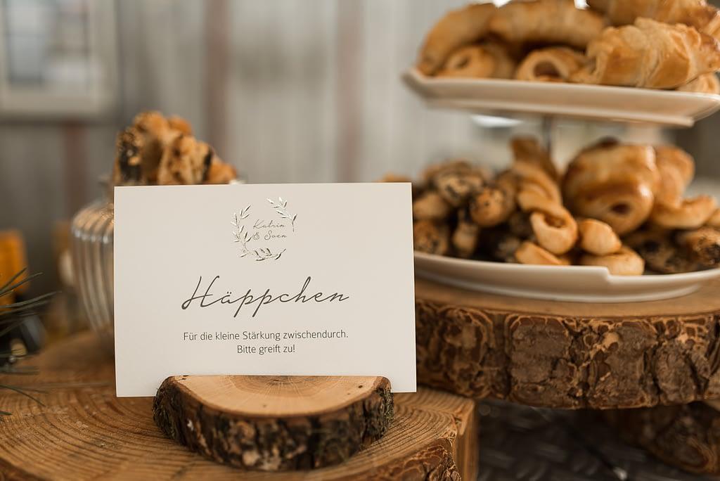 Häppchen zur Winter Hochzeit auf dem Gasthaus Einkorn bei Schwäbisch Hall