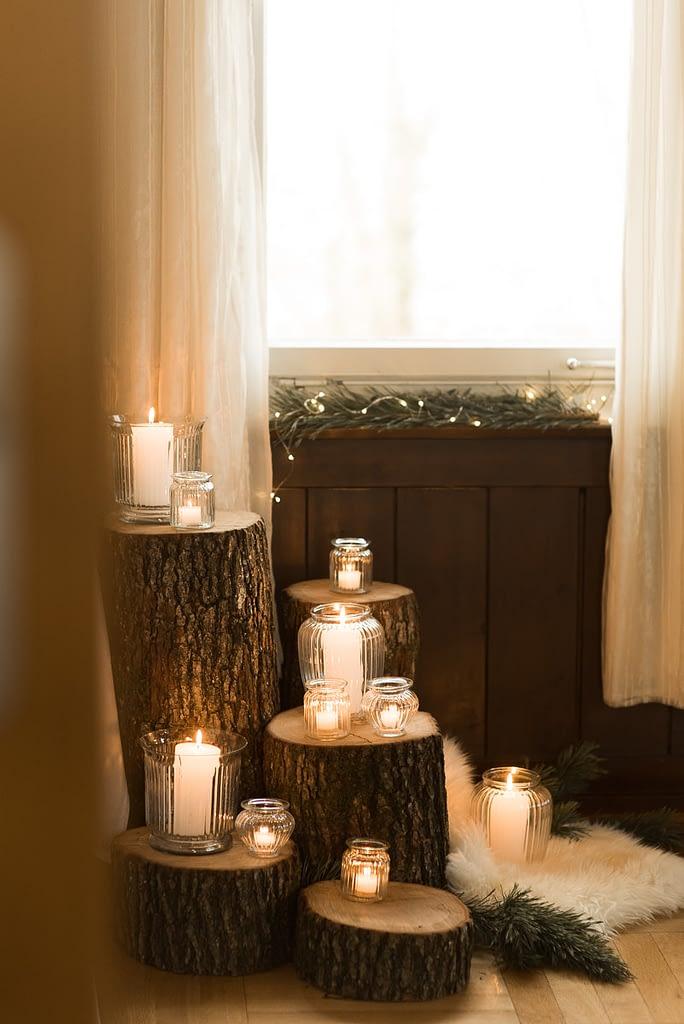 Kerzen Deko bei Winterhochzeit in Schwäbisch Hall